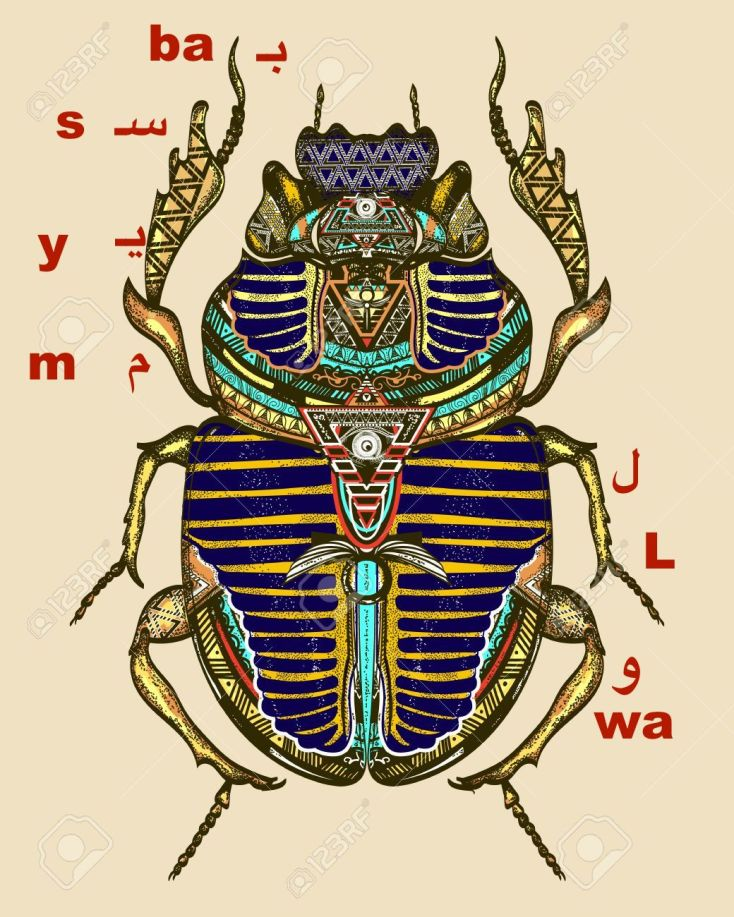 Gold scarab color tattoo, ancient Egypt art. Spiritual symbol of pharaoh, god Ra, t-shirt design. Egyptian sacred bug gold scarab, symbol of the sun tattoo